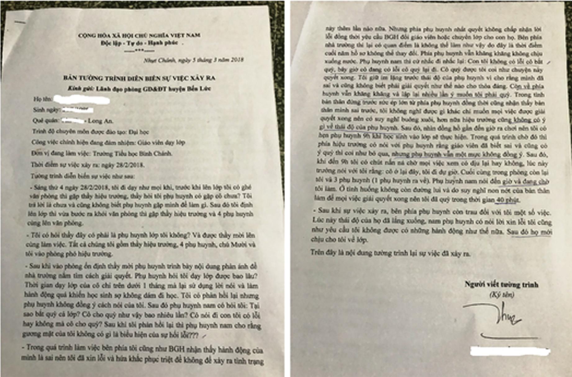 Giáo dục - Cô giáo bị ép quỳ xin lỗi phụ huynh: 'Tôi không muốn nói thêm về chuyện này nữa'