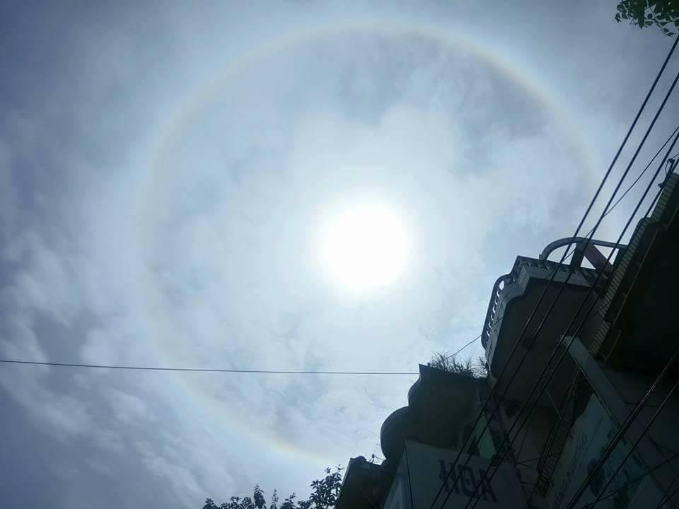 Video - Clip: Xuất hiện vầng hào quang hiếm thấy bao quanh mặt trời ở Yên Bái