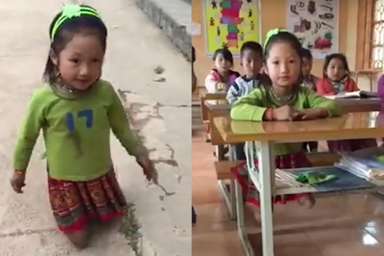 Mới- nóng - Clip: Khâm phục cảnh bé gái cụt 2 chân vẫn lạc quan đến lớp