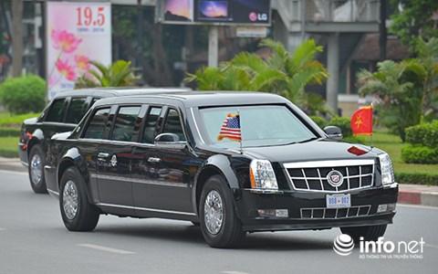 """Xe++ - """"Quái thú"""" Cadillac One của Tổng thống Mỹ lăn bánh tại Đà Nẵng"""