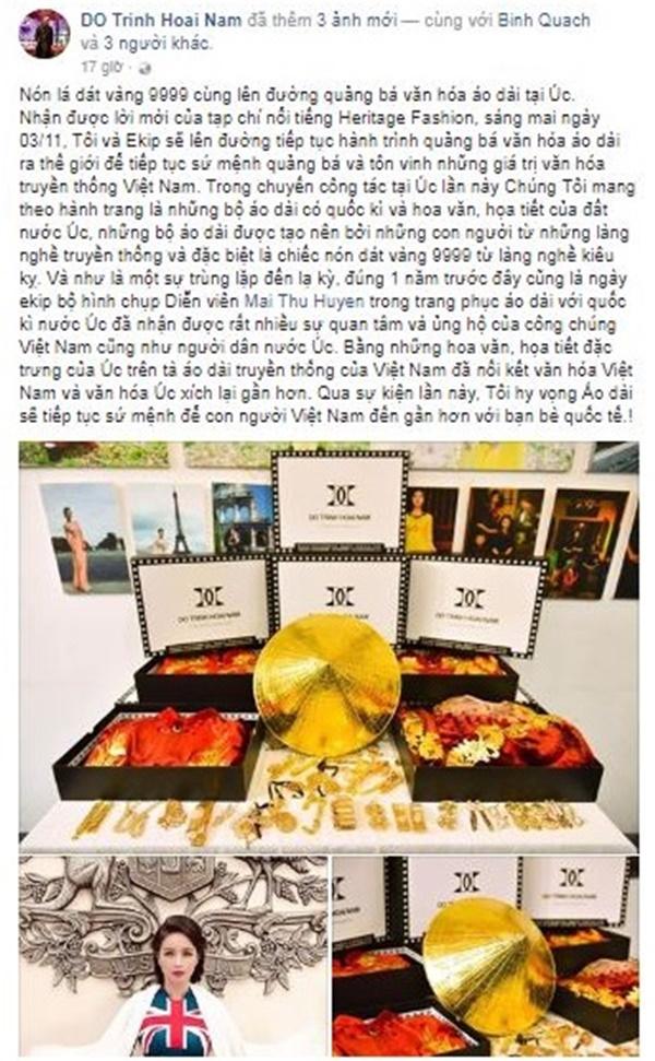 Sự kiện - NTK Đỗ Trịnh Hoài Nam mang nón lá dát vàng đến Úc (Hình 2).