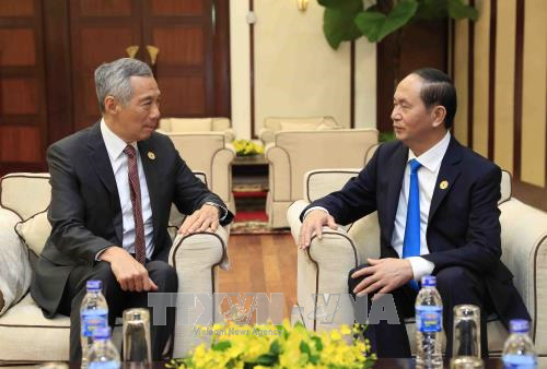 Tin tức - Chính trị - Chủ tịch nước Trần Đại Quang gặp Thủ tướng Singapore Lý Hiển Long