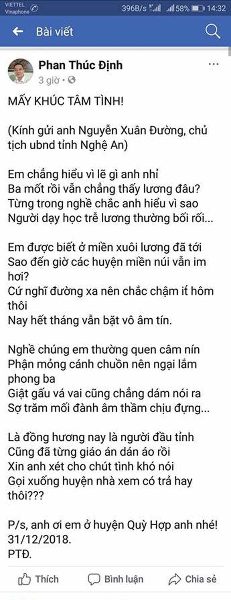 Giáo dục - Xúc động bài thơ 'Chậm lương' của thầy giáo miền núi gửi Chủ tịch tỉnh Nghệ An (Hình 2).