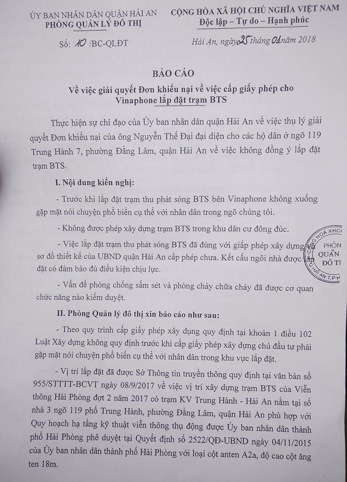 Điểm nóng - Hải Phòng: Lắp đặt trạm BTS vẫn tiếp tục gây tranh cãi sau văn bản giải quyết cấp quận