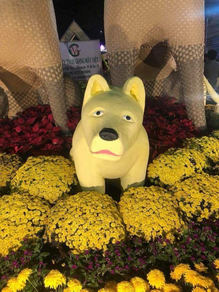 Cộng đồng mạng - Xuất hiện chú chó biểu cảm kỳ lạ tại đường hoa thành phố Mỹ Tho (Hình 3).