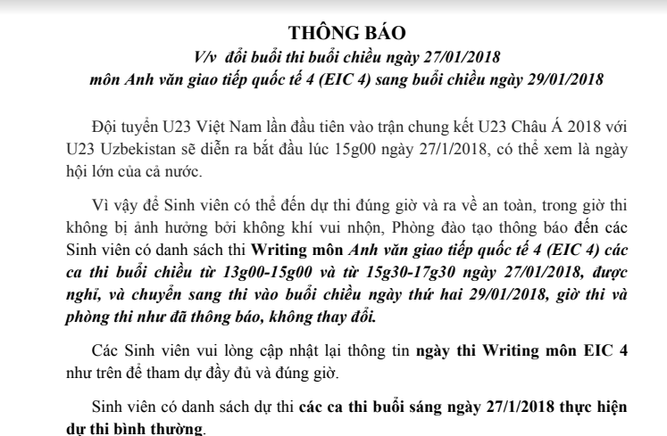 Giáo dục - Nhiều trường đại học dời lịch thi, hoãn học để SV cổ vũ U23 Việt Nam (Hình 2).