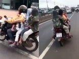 Mới- nóng - Clip: Người phụ nữ chạy xe máy 80km/h khi đang chở 4 em nhỏ