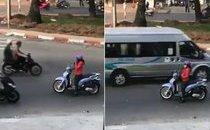 Mới- nóng - Người phụ nữ thản nhiên dừng xe nghe điện thoại giữa đường ngược chiều
