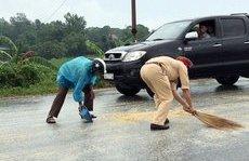 Chính trị - Xã hội - CSGT Quảng Ninh thu gom ngô rơi vãi giúp lái xe