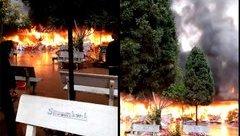 Xã hội - Lạng Sơn: Cháy dữ dội tại khu bán hàng mã ở Đền Mẫu - Đồng Đăng