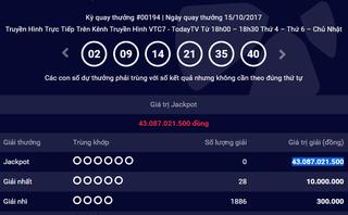Tiêu dùng & Dư luận - Kết quả xổ số Vietlott ngày 15/10: Jackpot 43 tỷ chưa tìm được chủ nhân