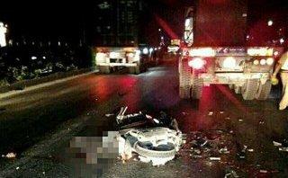Tin nhanh - Hải Dương: Nam thanh niên tử vong tại chỗ khi đâm vào xe container