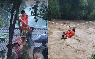 Video - Clip: Lực lượng cứu nạn ròng dây giải cứu dân bị cô lập trong vùng lũ