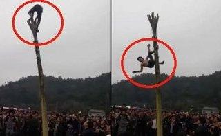 Mới- nóng - Clip: Ngã từ ngọn cây chuối cao 5m khi tham gia lễ hội làng