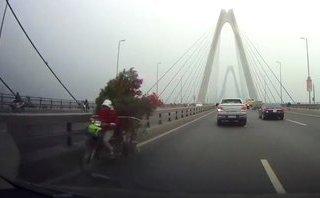 Xa lộ - Clip: Xe máy chở cây cảnh chạy ngược chiều trên cầu Nhật Tân