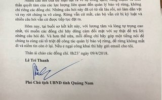 Chính trị - Hé lộ nội dung tâm thư của PCT tỉnh Quảng Nam