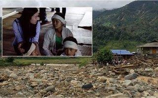 Giải trí - Hoa hậu Mỹ Linh đau xót trước cảnh bản làng bị lũ quét tan hoang
