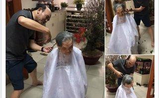 Gia đình - Xúc động hình ảnh người con cắt tóc cho mẹ già 95 tuổi ngày Tết