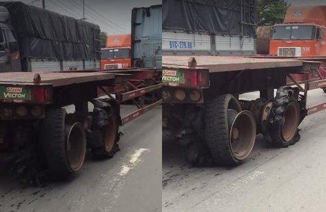 Video - Clip: Container vẫn thản nhiên chạy trên đường dù 4 bánh bể nát