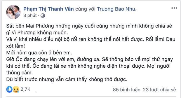 Sự kiện - Ốc Thanh Vân xót xa khi Mai Phương qua đời: 'Phương không muốn tôi chia sẻ nhiều vì nội bộ rối ren'