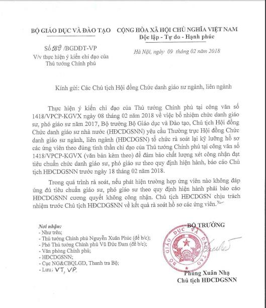 Giáo dục - Bộ trưởng Phùng Xuân Nhạ chỉ đạo rà soát hồ sơ ứng viên GS, PGS năm 2017