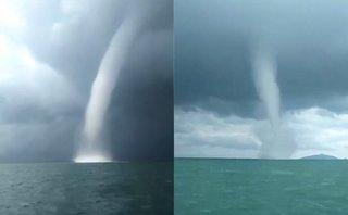 Mới- nóng - Clip: 2 vòi rồng xuất hiện cùng lúc trên biển Kiên Giang
